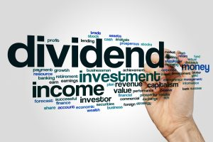 Dividend word cloud concept on grey background.