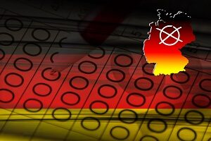 German federal elections State elections with Germany flag and election cross abstract
